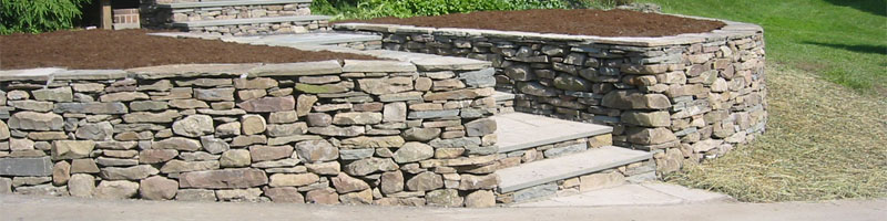 Curved Stone Wall and Steps