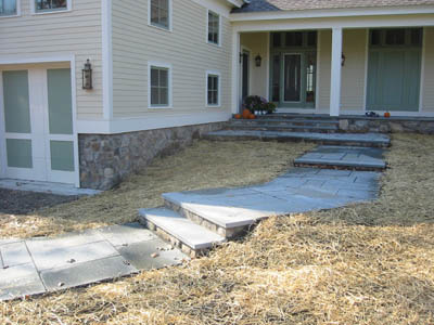 Flagstone Walkway with Bluestone Risers