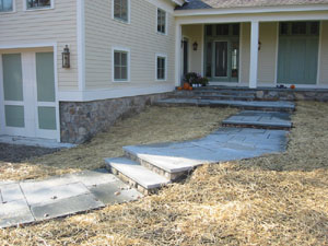 Square Cut Flagstone Walkway with Bluestone Steps