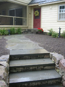 Flagstone Walkway with Bluestone Steps