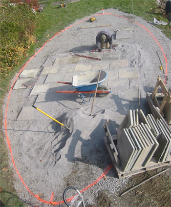 Stone Patio in Progress