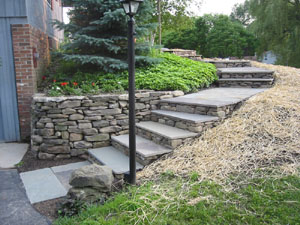 Stone Wall and Square Cut Flagstone Steps