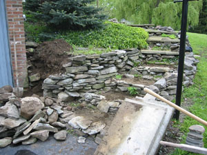Rebuilding Stone Wall and Steps