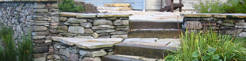 Stone Walls with Steps and Patio