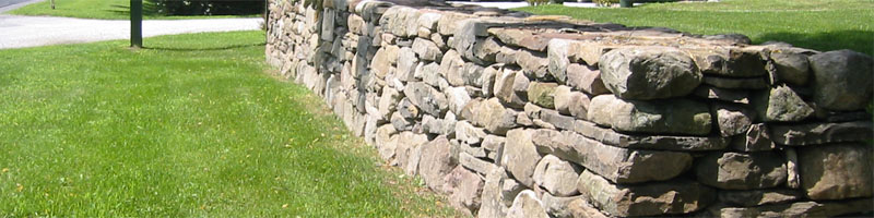 Stone Wall Along Road