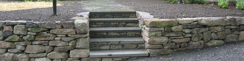 Stone Wall with Steps and Walkway