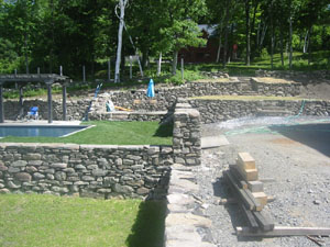 Stone Walls surrounding Pool area and Terraces