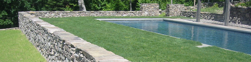 Stone Walls Surrounding Pool
